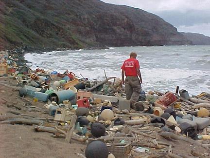 Fuente Wikipedia Desechos marinos en la costa de Hawai